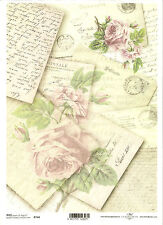 Rice Paper for Decoupage Scrapbooking, Vintage Letters Stamp Rose ITD R744
