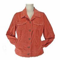 Orange Corderoy Jeans Jacket M AMI Brass Buttons Fringe Cotton