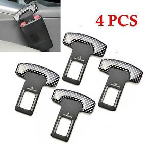 4PCS Universal Carbon Fiber Car Safety Seat Belt Buckle Clip Clamp