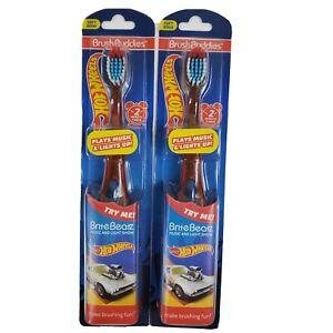 2 Brush Buddies Soft Toothbrush Hot Wheels Plays Music Lights Up Brite Beatz