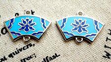 Flower connector fan shaped silver blue enamel charm jewellery supplies C558