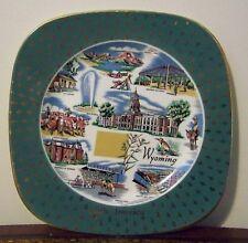 Wyoming Souvenir Plate Vintage Little America Shoshone Teton Old Faithful