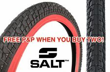 A SALT PITCH RAW 20 x 2.25 TYRE BMX SNAKE BELLY BLACK WITH RED WALL HUGE SAVING