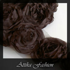 Dark Chocolate CHIFFON Mesh Fabric LACE TRIM × 1y 12 Large Flower Applique Motif