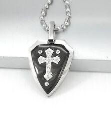 "Silver Black Celtic Knights Shield Templar Cross Pendant 24"" 61cm Chain Necklace"