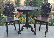 Antique BRIENZ Black Walnut BLACK FOREST Round Tea Table &2 Chairs Set Edelweiss
