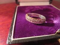 Hübscher 925 Silber Ring Zirkonia Halbmemory Funkelnd Vergoldet Ausgefallen Top