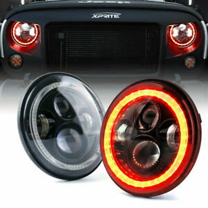 Xprite 7Inch 90W LED Headlights w/ RED Halo for 1997-2018 Jeep Wrangler JK LJ TJ