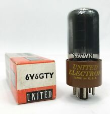 GE for United 6V6GTY Black Plate Dual D Getters Brown Base Tetrode Vacuum Tube