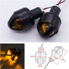 2x 22mm Handlebar Turn Signal Grip Bar End Lights LED Plug Strobe Lamp Universal