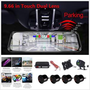 "Touch 9.66"" Car Streaming Mirror DVR Recorder+Backup HD Camera & Parking Sensor"