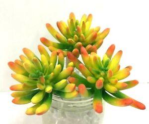 "Succulent Plant Picks~Set of 3~Yellow/Orange,Green~5"" T~PVC/Artificial"