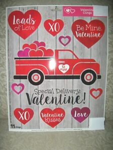 Valentines Day Vintage Red Truck Window Clings