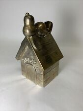 """New ListingPeanuts Snoopy Vintage 1958 Silver Plate 6"""" Dog House Character Coin Piggy Bank"""