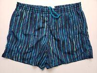 white stag men's shorts M-Medium blue striped Vintage drawstring lined pockets