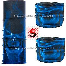 Lightweight Motorcycle Biker Face Neck Tube Multifunction Scarf Blue Fire Skulls
