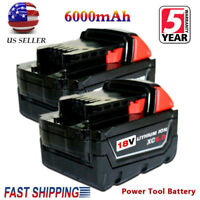 2X Replace For Milwaukee 48-11-1860 M18 XC 6.0 Lithium-Ion Cordless Battery Pack