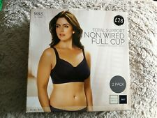 MARKS AND SPENCER 2PK Total Support Floral WHITE BLUE Full Cup BRA 44E 44 E BNWT