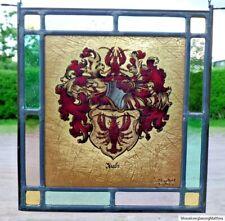 "Bleiverglasung Fensterbild Glasmalerei ""Krebs- Wappen"" signiert Pitt van Treeck"
