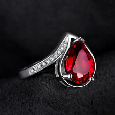 4.9ct Luxury Bright Ruby Pear & Cubic Zirconia Pure Sterling Silver Ring Size 7