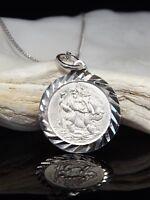 "Sterling Silver 925 St Saint Christopher Pendant Necklace 16/18"" Gift Bag UK"