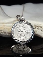 "Sterling Silver 925 St Saint Christopher Pendant Necklace 16/18/20"" Chain Boxed"