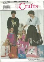 9279 Simplicity SEWING Pattern CRAFT Poodle Applique Four size UNCUT Vintage OOP