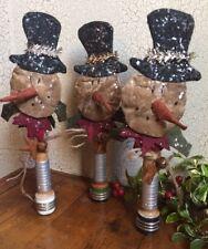 3 Grubby Grungy SNOWMAN POKES w/Rusty Bell Star Bobbins Ornament Wreath Tuck