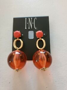 INC Coral Resin Ball Dangle Earrings