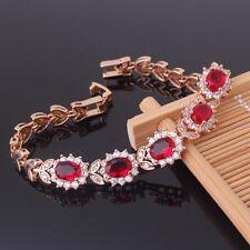 "HOT SALE ! Woman 18k gold filled garnet gorgeous charms bracelet 8.2""17.8g"