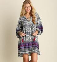 Umgee USA Dress Size S Boho Boutique Ethnic Print Long Sleeve Swing Tunic NAVY