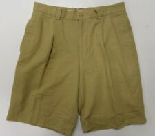 Aquascutum Mens Shorts Sz 32 Beige Khaki Pleated Made in Italy