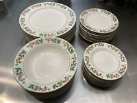 Gibson Fine China - Holiday Christmas Holly Gold Trim 32 Piece Dinnerware Set