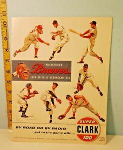 Vintage 1956 Milwaukee Braves Baseball Score Card w/Bob Friend Autograph Pirates