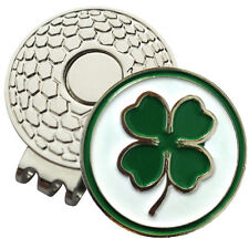 1 x New Magnetic Hat Clip + 4 Leaf Clover Golf Ball Marker -  Golf Hat or Visor