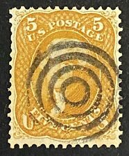 US Stamps, Scott #67 1861 5c F/VF 'used' Target cancel. Buff color. Nice!