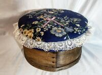 Antique Round Cheese Box With Quilted Top & Painted Flowers