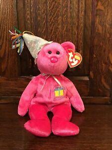 TY Beanie Birthday Bear, January Bear Still with Tag,  Retired 2002