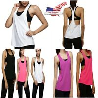 US Women Sports Vest Fitness Exercise Gym Yoga Tank Singlet Loose Tops Workout