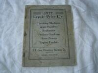 1922 Case threshers  engine tenders grain handler repair parts list catalog book