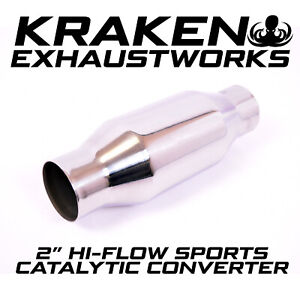 """2"""" INCH SPORTS CAT CATALYTIC CONVERTER HI FLOW 100 CELL UNIVERSAL STAINLESS"""