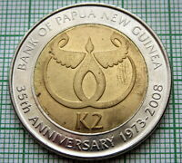 PAPUA NEW GUINEA 2008 2 KINA, BANK 35th ANNIVERSARY, BI-METALLIC, UNC