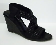 A. Marinelli Wedge Sandals Elastic Studded Black Strap Randie size 7.5
