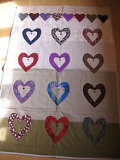 Patchwork heart quilt with button details, hand made and professionally finished