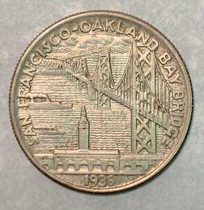 1936-S Bay Bridge San Francisco - Oakland AU Silver Commemorative Half Dollar *