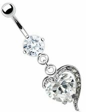 Plated Heart Clear Cubic Zirconia 14 G Body Accentz Belly Button Ring Navel Gold