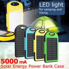 4Colors 5000mAh Solar Power Bank Dual  USB Waterproof Portable Charger DIY Case