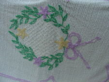 CHENILLE BEDSPREAD  NEEDLE TUFT GREEN WREATH WITH FLOWERS NEVER WASHED 88X115