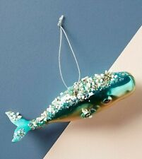 New Anthropologie Glass Jeweled Whale Christmas Ornament Nautical