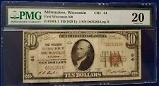 1929 $10.00 Milwaukee, WI First Wisconsin NB  FRN PMG  VF20 Serial #D025383A ppD